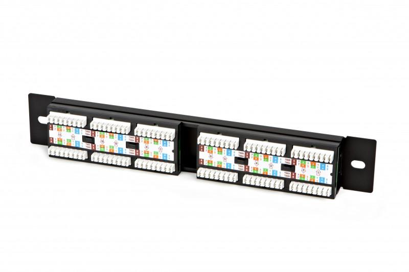 Патч-панель 10, 12 портов RJ-45, категория 5e, UTP, 1U, монтажный раз
