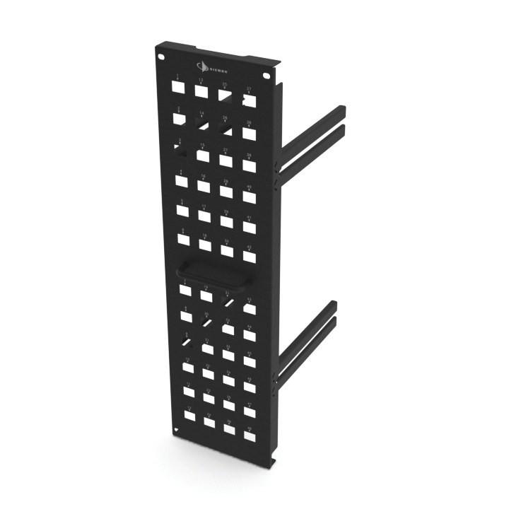 Siemon VP-VPTM-1-42-SALE Вертикальная панель TERA-MAX на 48 портов для модулей 5e (max), 6А( max, Z-max), 7/ 7А (TERA) и оптических адаптеров MAX, в шкафы Versapod 42U, черная (РАСПРОДАЖА)