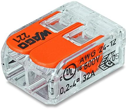 WAGO 221-412 Клемма соединительная 2-проводная, для проводов сечением до 4.0 мм2 (24...12 AWG), с боковым подключением, прозрачная