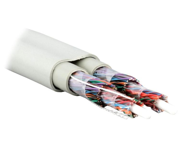 Teldor 7569225129W050T Кабель витая пара, неэкранированная U/ UTP, категория 5, 50 пар (24 AWG), одножильный (solid), внутренний/ внешний, FR-PVC, -45°C - +75°C, светло-серый