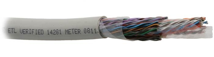 Teldor 7562025129 Кабель витая пара, неэкранированная U/ UTP, категория 5, 25 пар (24 AWG), одножильный (solid), FR PVC, –30 °C - +70 °C, светло-серый