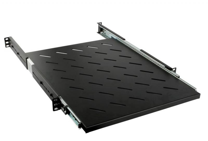 Hyperline SRVSH-600-RAL9005 Полка выдвижная глубиной 600 мм для стоек (до 90 кг), цвет черный (RAL 9005)