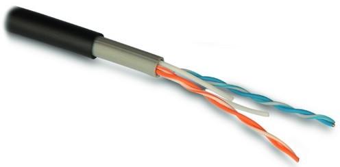 Hyperline IU2-C5e-P-I (500 м) Кабель для сетей Industrial Ethernet, категория 5e, 2x2x24 AWG, многопроволочные жилы (patch), U/ UTP, для внутренней и внешней прокладки (-40°C – +70°C), двойная оболочка, PVC (UV), черный (цена за 1 м)