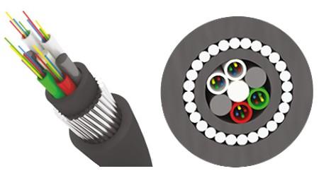 Трансвок ОКБ-1/ 3Сп-4(1/ 50) (7кН) Кабель волоконно-оптический 50/ 125 многомодовый, 4 волокна, с броней из стальной круглой проволоки модульной конструкции, для прокладки в грунтах всех категорий, черный