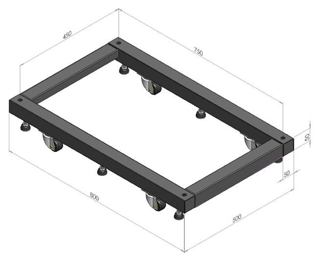 Hyperline ORV-BSM-600 Основание для стоек ORV2 и ORV2A глубиной 600 мм, для установки стойки на ножки и ролики (в комплекте 6 ножек и 2 ролика + 2 ролика с тормозом)