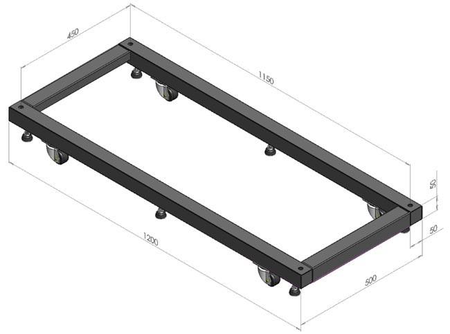 Hyperline ORV-BSM-1000 Основание для стоек ORV2 и ORV2A глубиной 1000 мм, для установки стойки на ножки и ролики (в комплекте 6 ножек и 2 ролика + 2 ролика с тормозом)