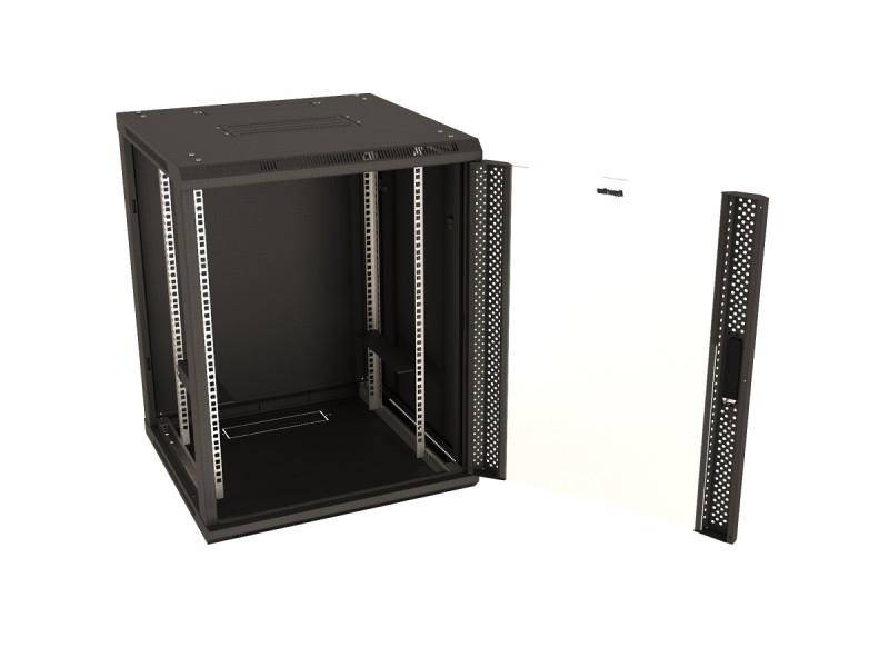 """Hyperline TWB-FC-1266-GP-RAL9004 Шкаф настенный 19-дюймовый (19""""), 12U, 662x600х600мм, стеклянная дверь с перфорацией по бокам, ручка с замком, с возможностью установки на ножки, цвет черный (RAL 9004) (разобранный)"""