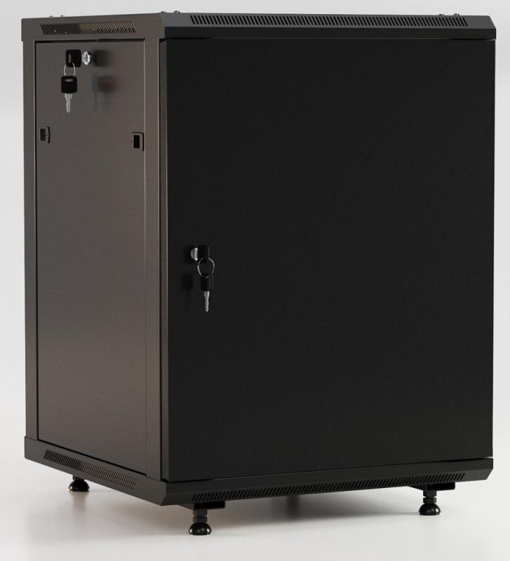 """Hyperline TWB-FC-1266-SR-RAL9004 Шкаф настенный 19-дюймовый (19""""), 12U, 662x600х600мм, металлическая передняя дверь с замком, две боковые панели, с возможностью установки на ножки, цвет черный (RAL 9004) (разобранный)<img style='position: relative;' src='/image/only_to_order_edit.gif' alt='На заказ' title='На заказ' />"""