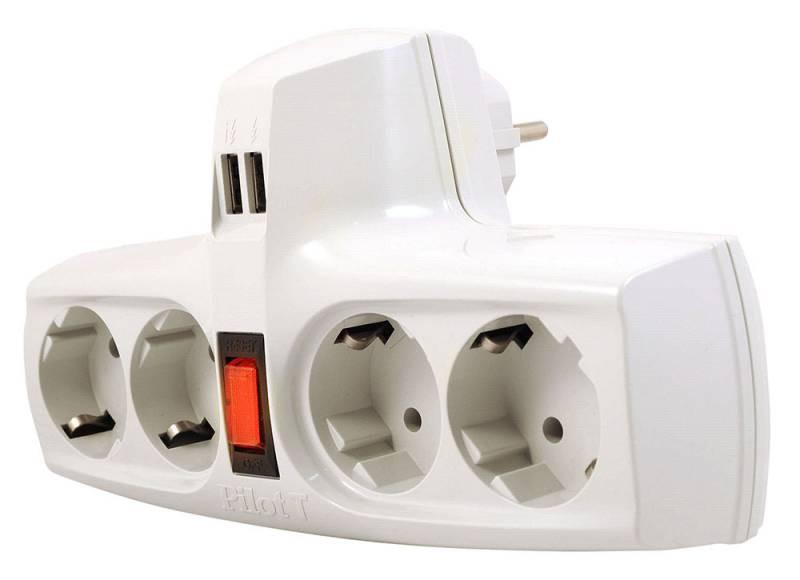 ZIS Pilot T Разветвитель электрический с защитой от перегрузки, 4 розетки, 2 USB-разъема, 3, 3кВт, 220Вт, 15А