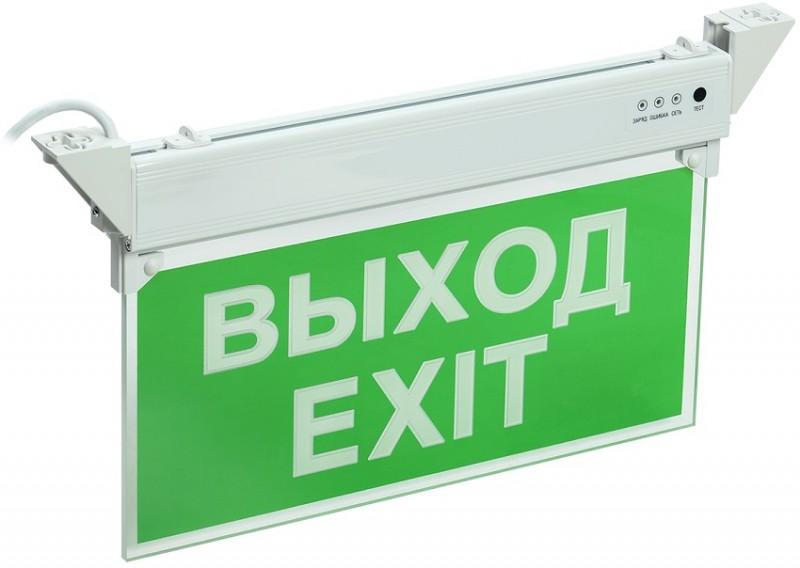 IEK LSSA0-2101-3-20-K03 Светильник аварийный, 3ч, 3Вт, ВЫХОД-EXIT, крепление к стене, подвесной, IP20