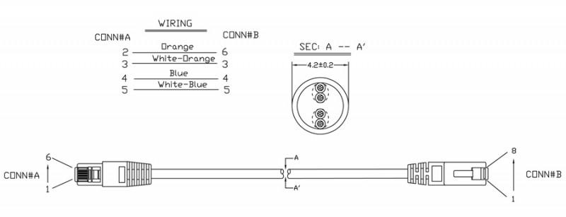 Hyperline PC-LPM-UTP-RJ45-RJ12-C2-3M-GY Патч-корд U/UTP, переходный