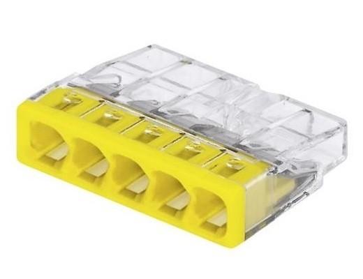 WAGO 2273-205 Клемма соединительная 5-проводная для распределительных коробок, сечением 0.5-2.5 мм2, без пасты, желтая